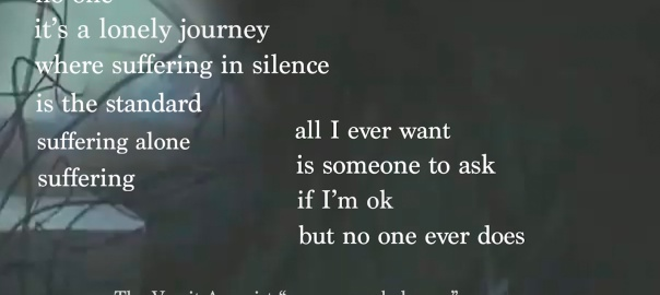 """Lyrics from Vomit Arsonist """"no one can help you"""" sound with image of barbed wire in the background. """"no one its a lonely journey where suffering in silence is the standard suffering alone suffering all I ever want is someone to ask if I'm ok but no one ever does"""